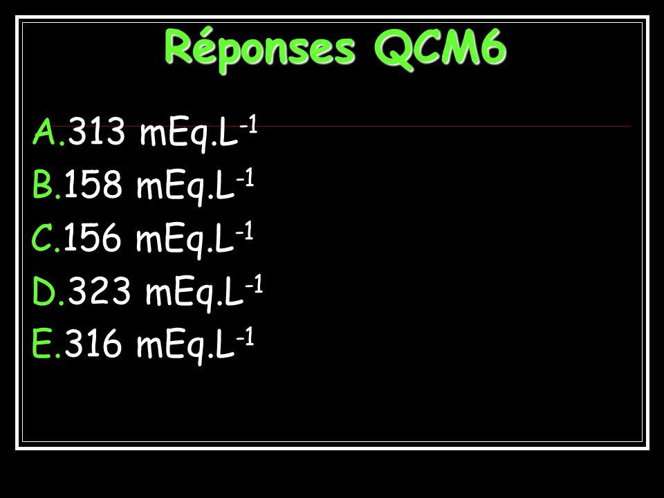 Réponses QCM6 313 mEq.L-1 158 mEq.L-1 156 mEq.L-1 323 mEq.L-1