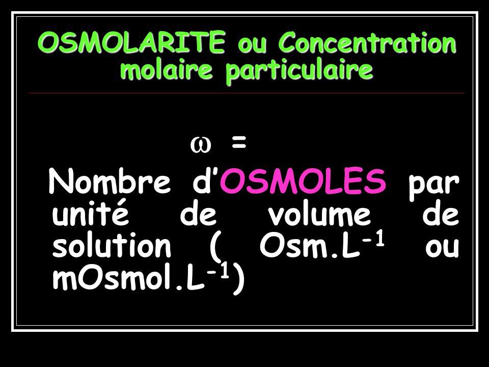 OSMOLARITE ou Concentration molaire particulaire
