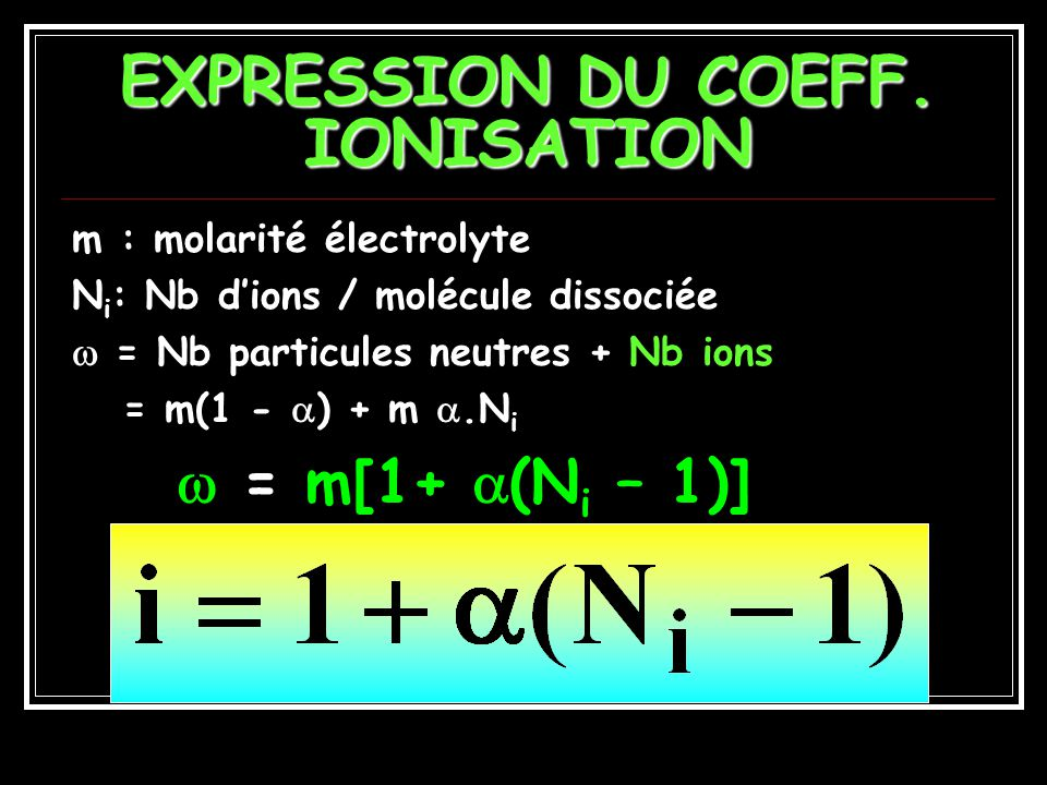 EXPRESSION DU COEFF. IONISATION