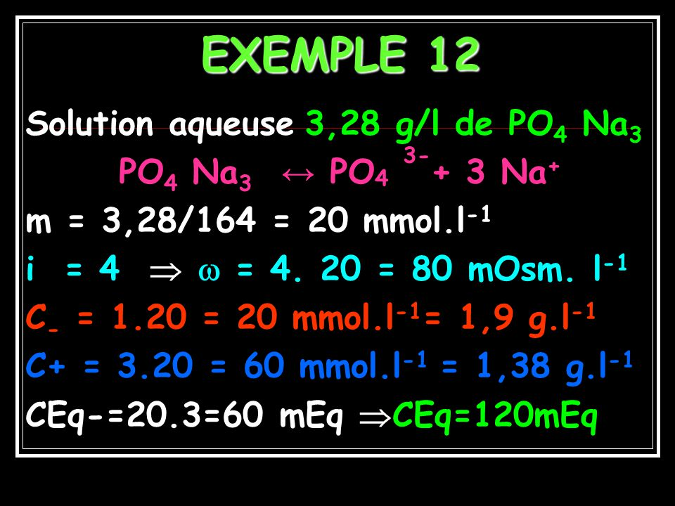 EXEMPLE 12 Solution aqueuse 3,28 g/l de PO4 Na3
