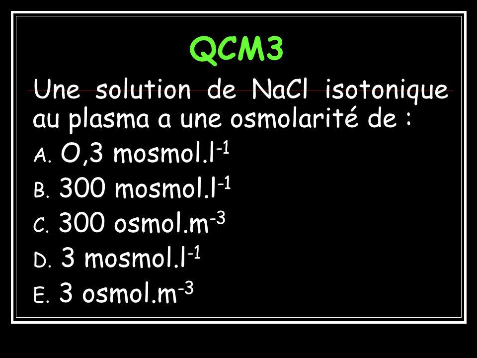 QCM3 Une solution de NaCl isotonique au plasma a une osmolarité de :