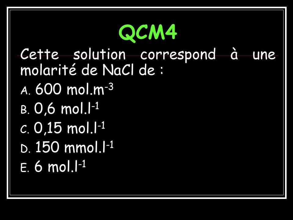 QCM4 Cette solution correspond à une molarité de NaCl de : 600 mol.m-3
