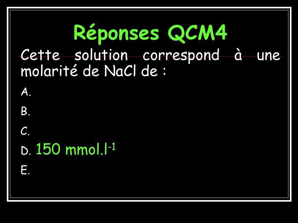 Réponses QCM4 Cette solution correspond à une molarité de NaCl de :
