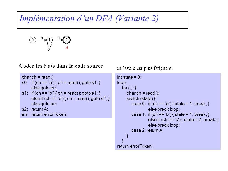 Implémentation d'un DFA (Variante 2)