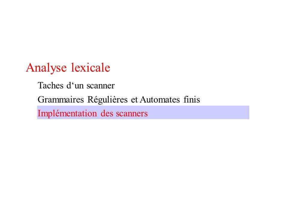 Analyse lexicale Taches d'un scanner