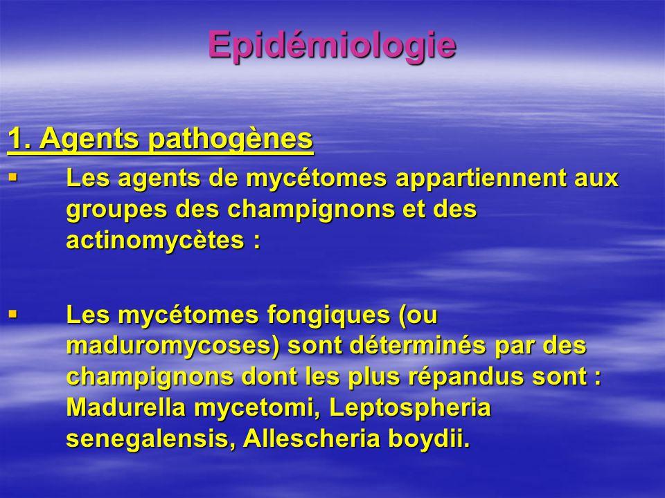 Epidémiologie 1. Agents pathogènes