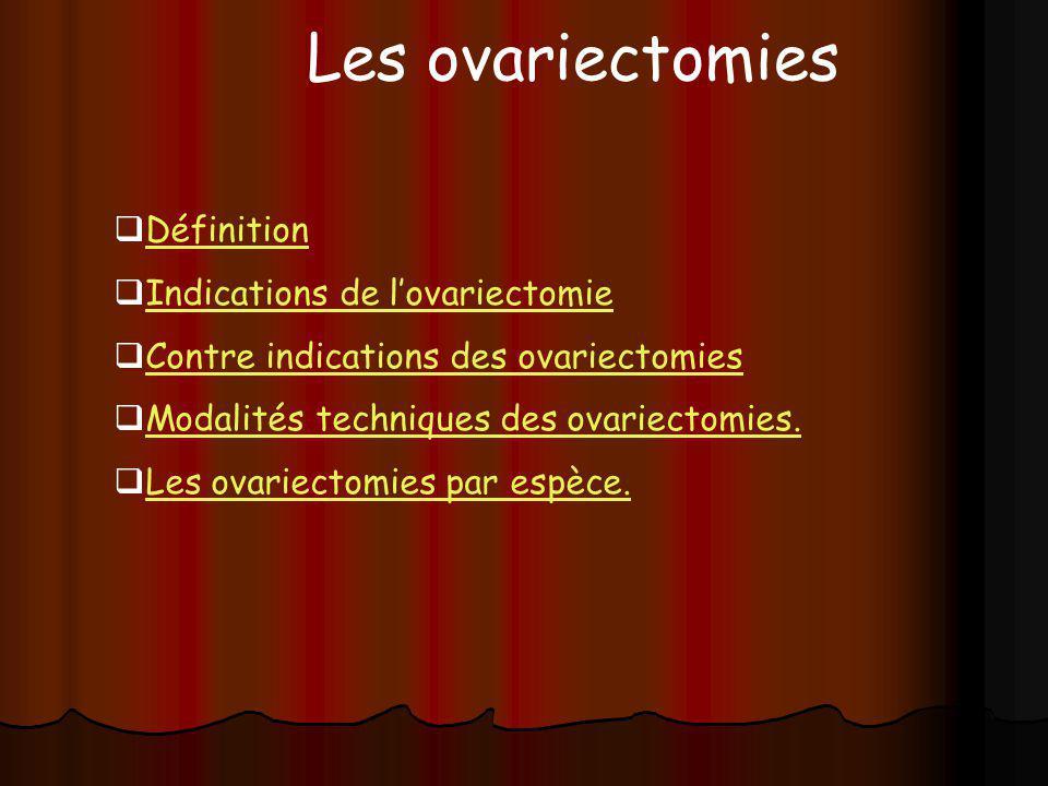 Les ovariectomies Définition Indications de l'ovariectomie