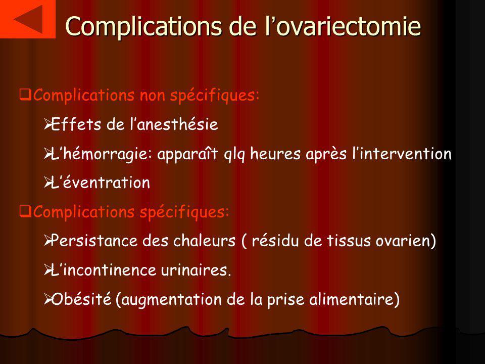 Complications de l'ovariectomie