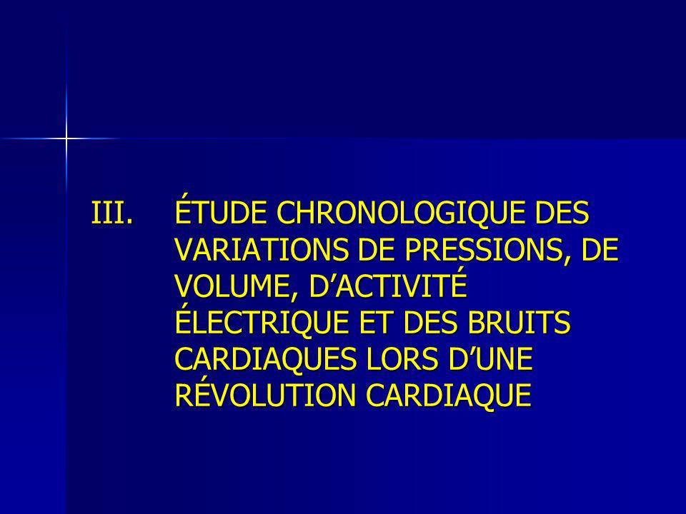 ÉTUDE CHRONOLOGIQUE DES VARIATIONS DE PRESSIONS, DE VOLUME, D'ACTIVITÉ ÉLECTRIQUE ET DES BRUITS CARDIAQUES LORS D'UNE RÉVOLUTION CARDIAQUE