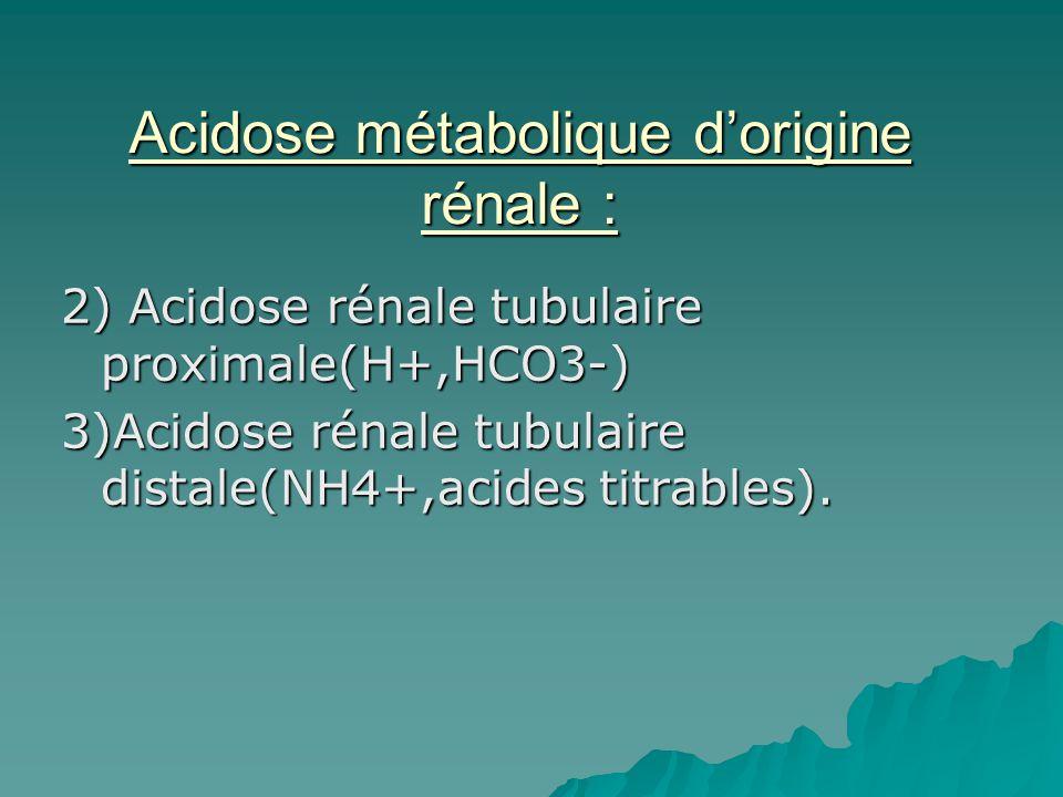 Acidose métabolique d'origine rénale :