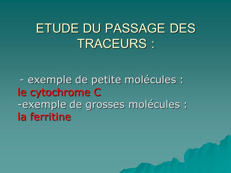 ETUDE DU PASSAGE DES TRACEURS :