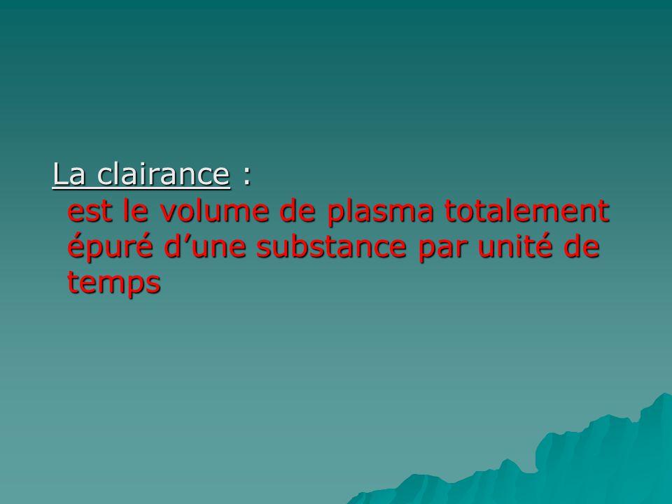 La clairance : est le volume de plasma totalement épuré d'une substance par unité de temps
