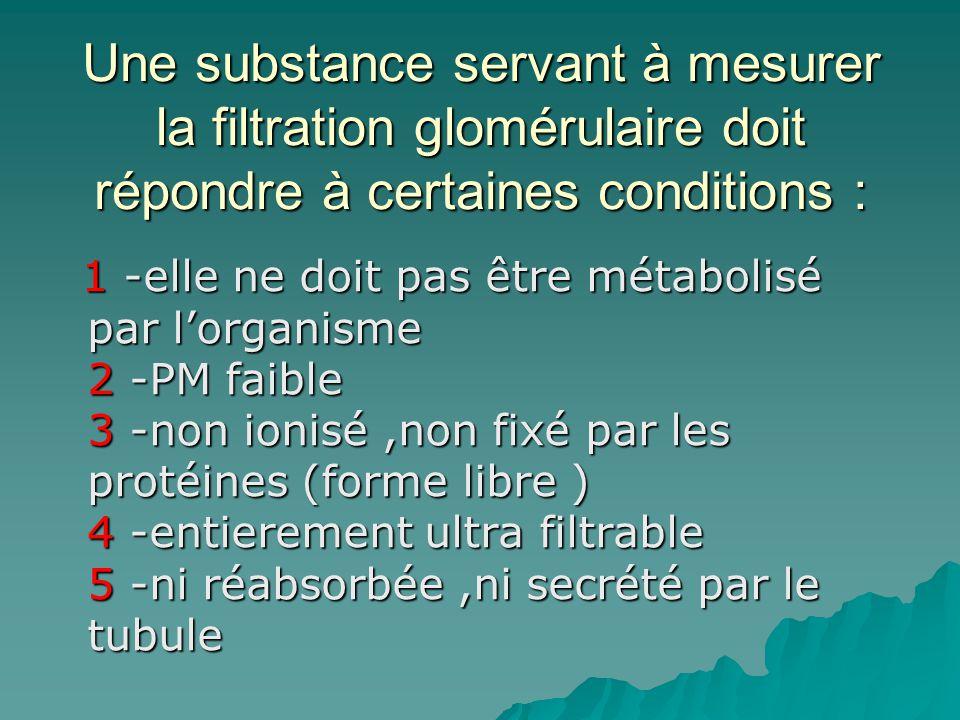 Une substance servant à mesurer la filtration glomérulaire doit répondre à certaines conditions :