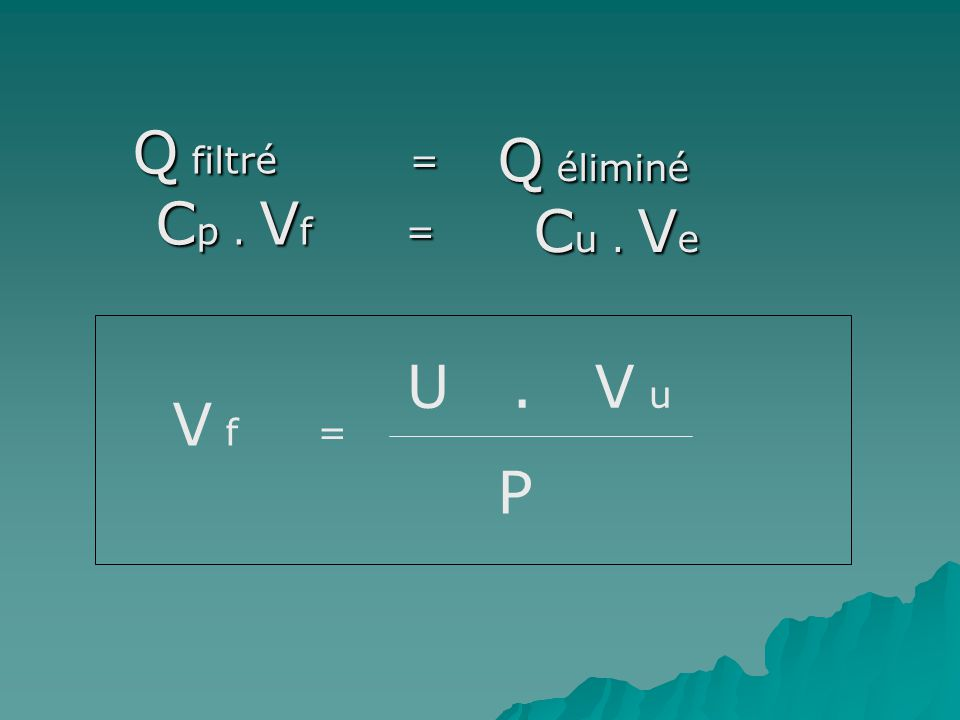 Q filtré = Cp . Vf = Q éliminé Cu . Ve. U . V u. V f =