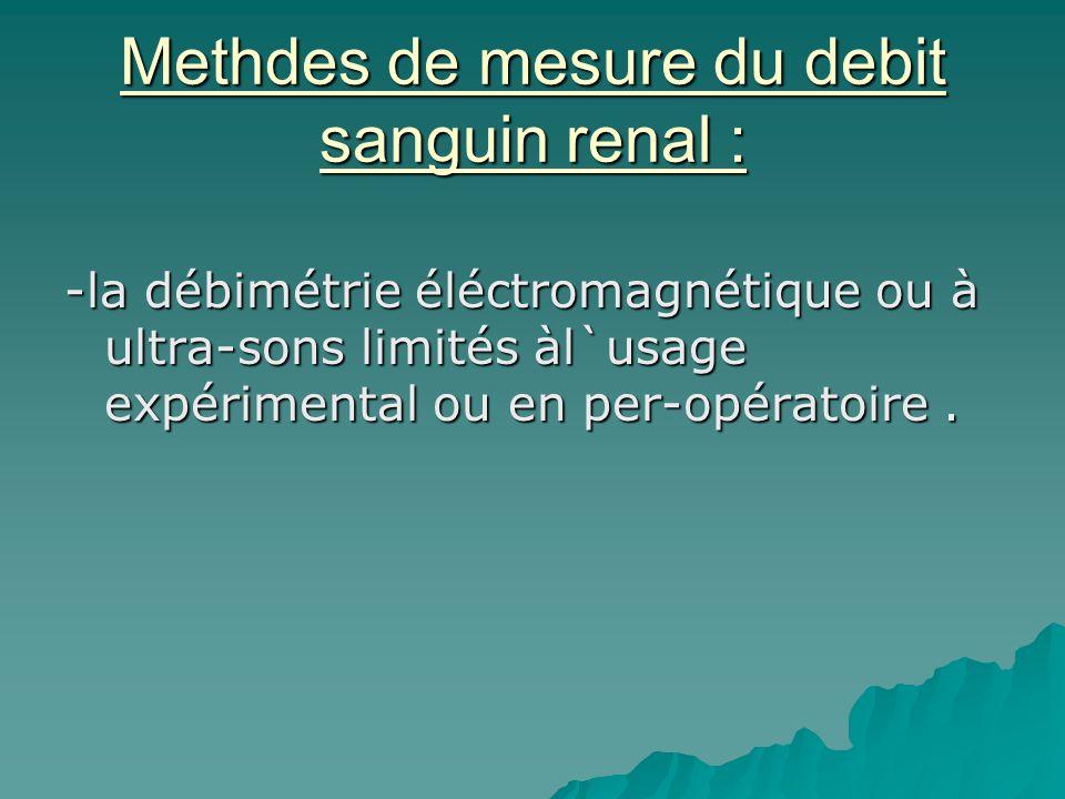 Methdes de mesure du debit sanguin renal :