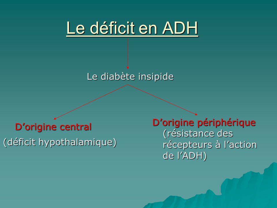 Le déficit en ADH Le diabète insipide