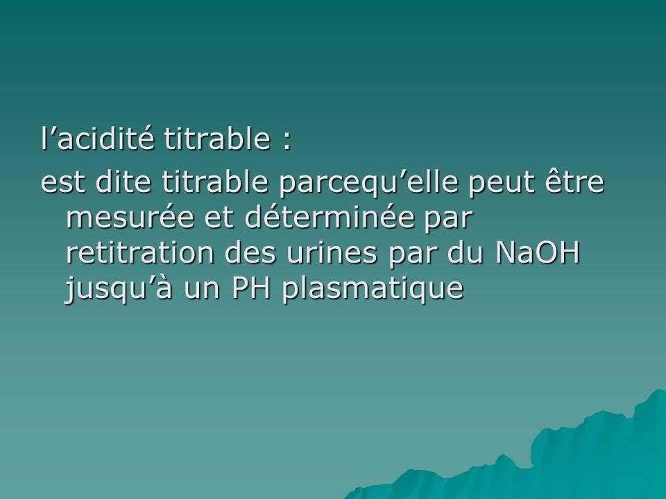 l'acidité titrable : est dite titrable parcequ'elle peut être mesurée et déterminée par retitration des urines par du NaOH jusqu'à un PH plasmatique