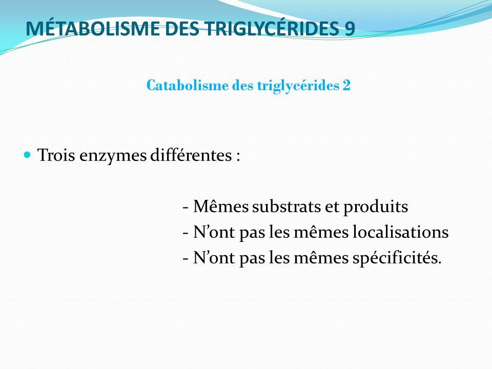 MÉTABOLISME DES TRIGLYCÉRIDES 9