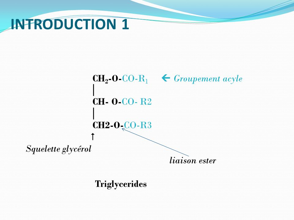 INTRODUCTION 1 CH2-O-CO-R1  Groupement acyle │ CH- O-CO- R2