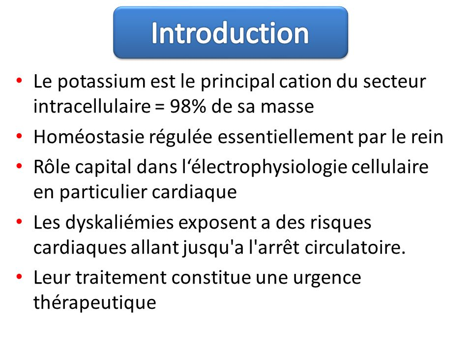 Introduction Le potassium est le principal cation du secteur intracellulaire = 98% de sa masse. Homéostasie régulée essentiellement par le rein.
