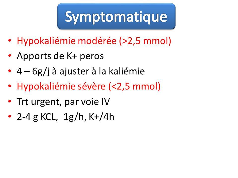 Symptomatique Hypokaliémie modérée (>2,5 mmol) Apports de K+ peros