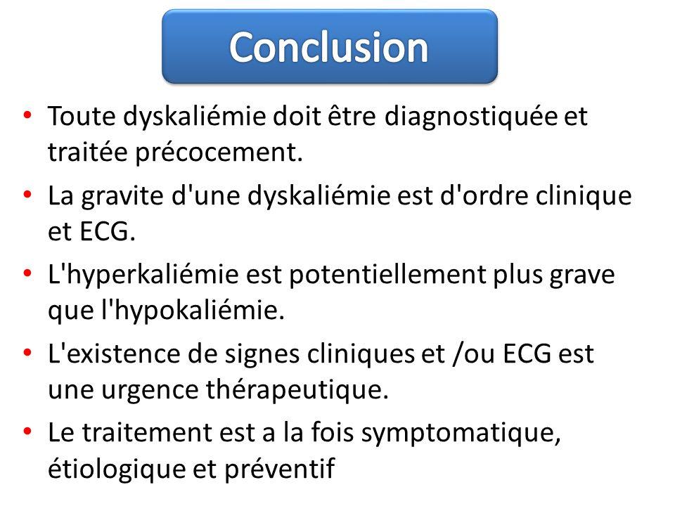 Conclusion Toute dyskaliémie doit être diagnostiquée et traitée précocement. La gravite d une dyskaliémie est d ordre clinique et ECG.