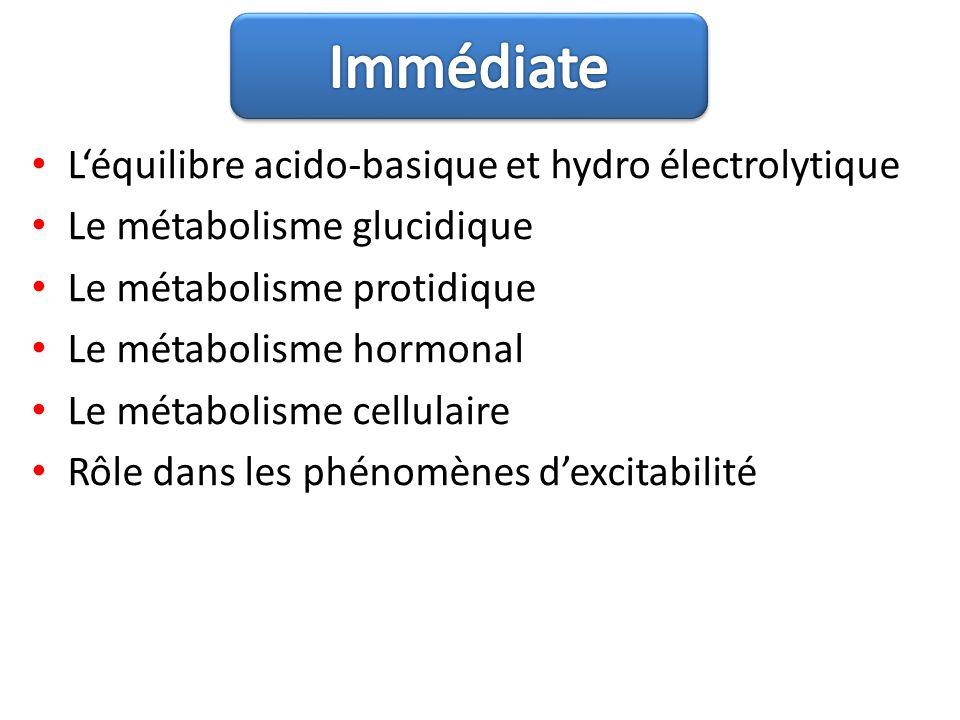 Immédiate L'équilibre acido-basique et hydro électrolytique