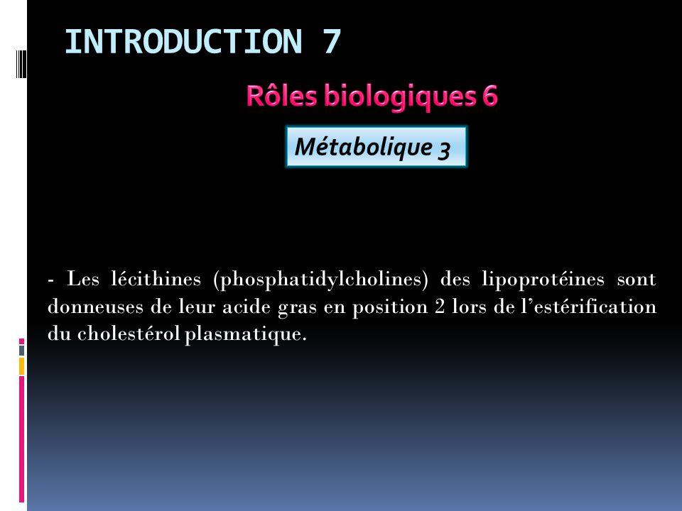 INTRODUCTION 7 Rôles biologiques 6 Métabolique 3
