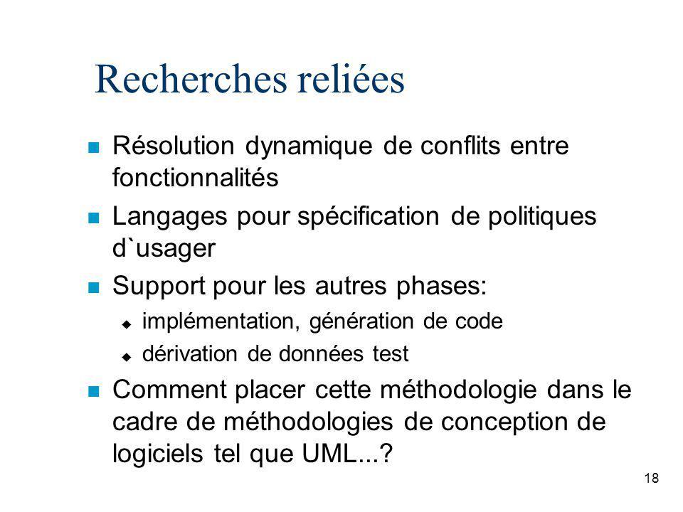 Recherches reliées Résolution dynamique de conflits entre fonctionnalités. Langages pour spécification de politiques d`usager.