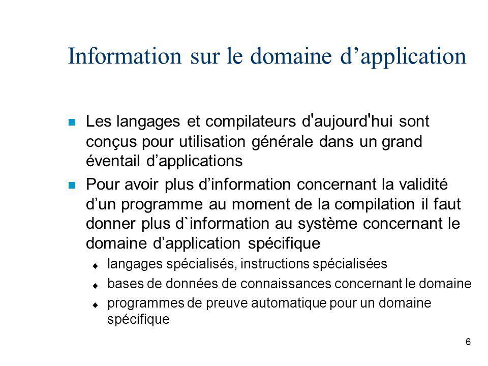 Information sur le domaine d'application