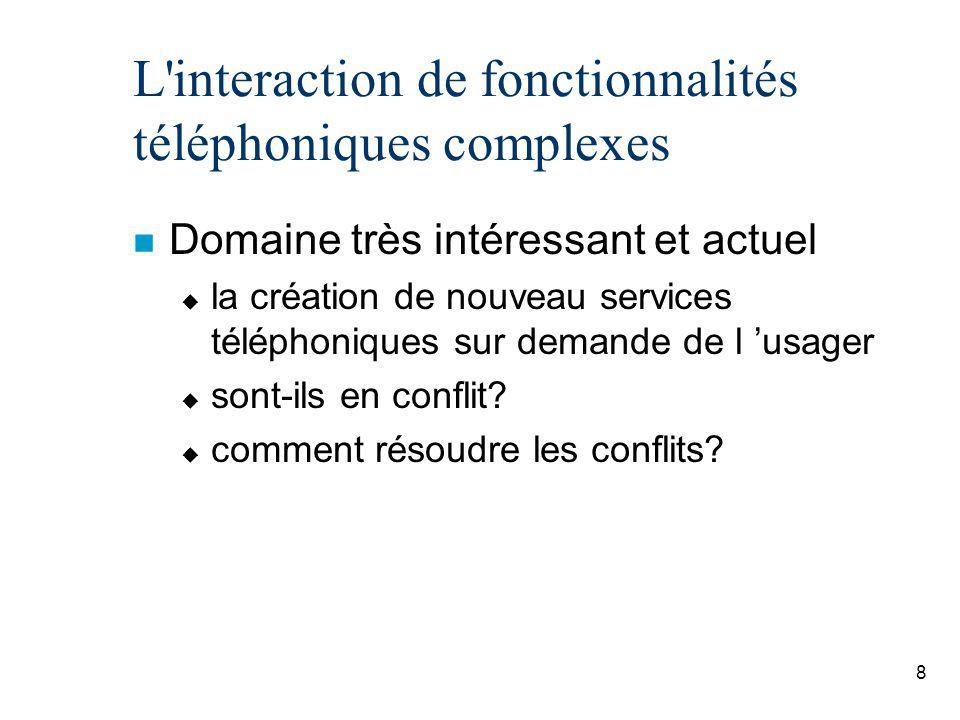 L interaction de fonctionnalités téléphoniques complexes