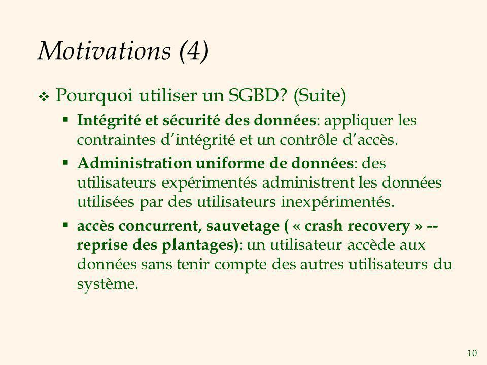 Motivations (4) Pourquoi utiliser un SGBD (Suite)