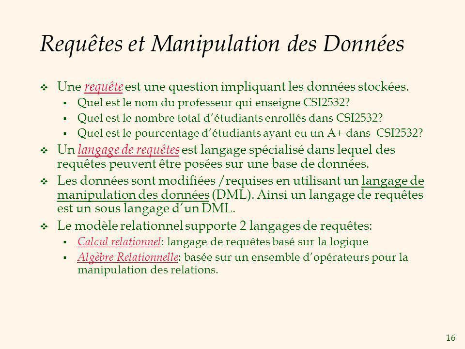 Requêtes et Manipulation des Données