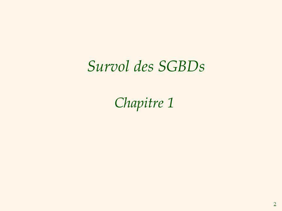 Survol des SGBDs Chapitre 1