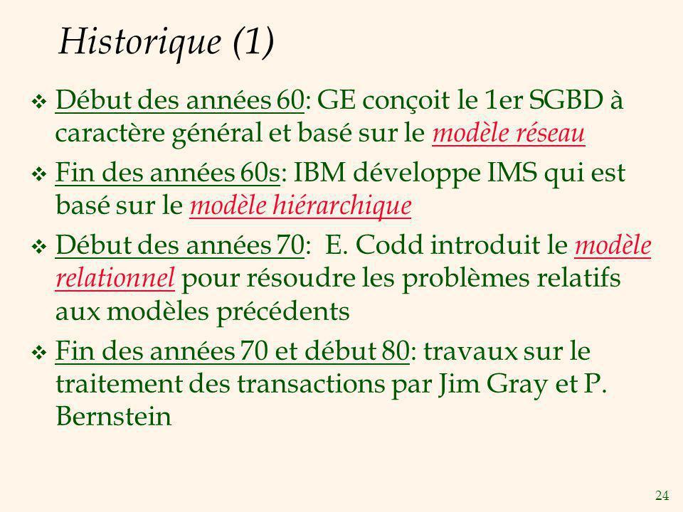 Historique (1) Début des années 60: GE conçoit le 1er SGBD à caractère général et basé sur le modèle réseau.