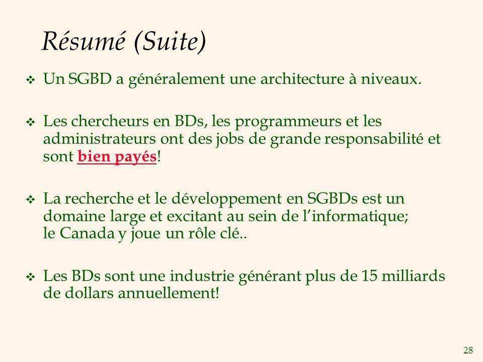Résumé (Suite) Un SGBD a généralement une architecture à niveaux.