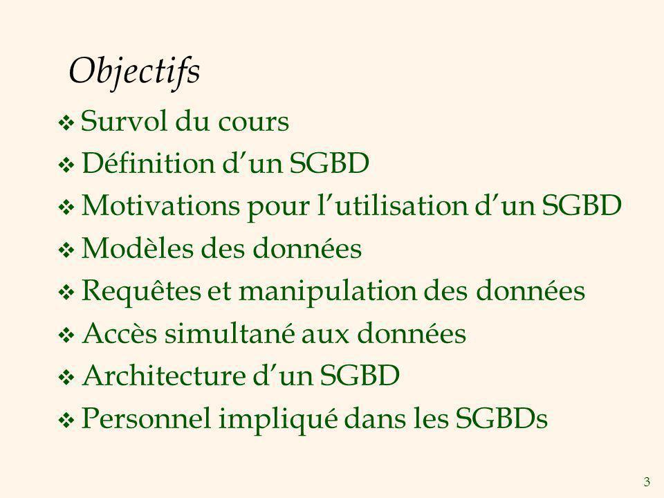 Objectifs Survol du cours Définition d'un SGBD