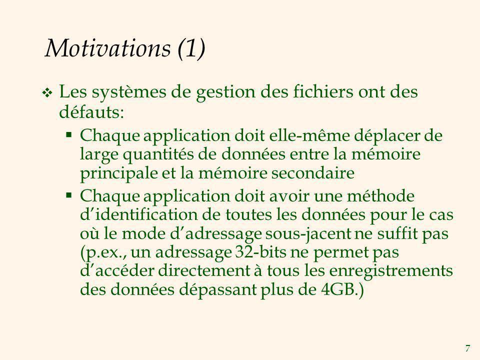 Motivations (1) Les systèmes de gestion des fichiers ont des défauts:
