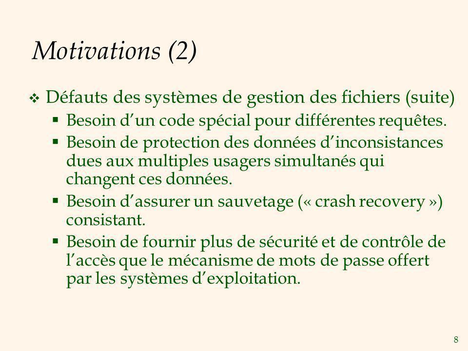 Motivations (2) Défauts des systèmes de gestion des fichiers (suite)