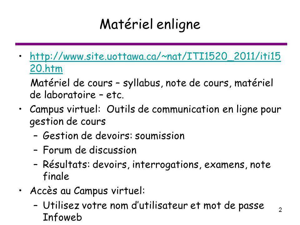 Matériel enligne http://www.site.uottawa.ca/~nat/ITI1520_2011/iti1520.htm.