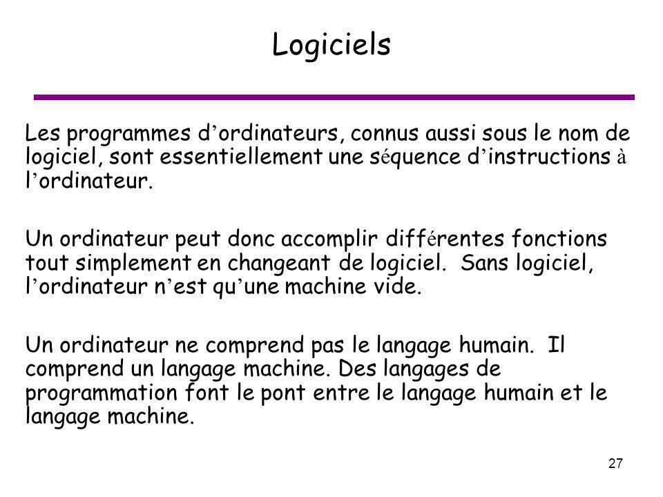 Logiciels Les programmes d'ordinateurs, connus aussi sous le nom de logiciel, sont essentiellement une séquence d'instructions à l'ordinateur.