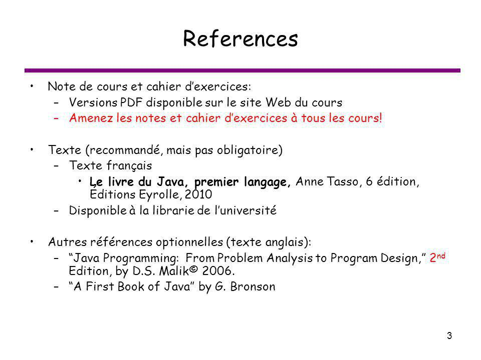 References Note de cours et cahier d'exercices: