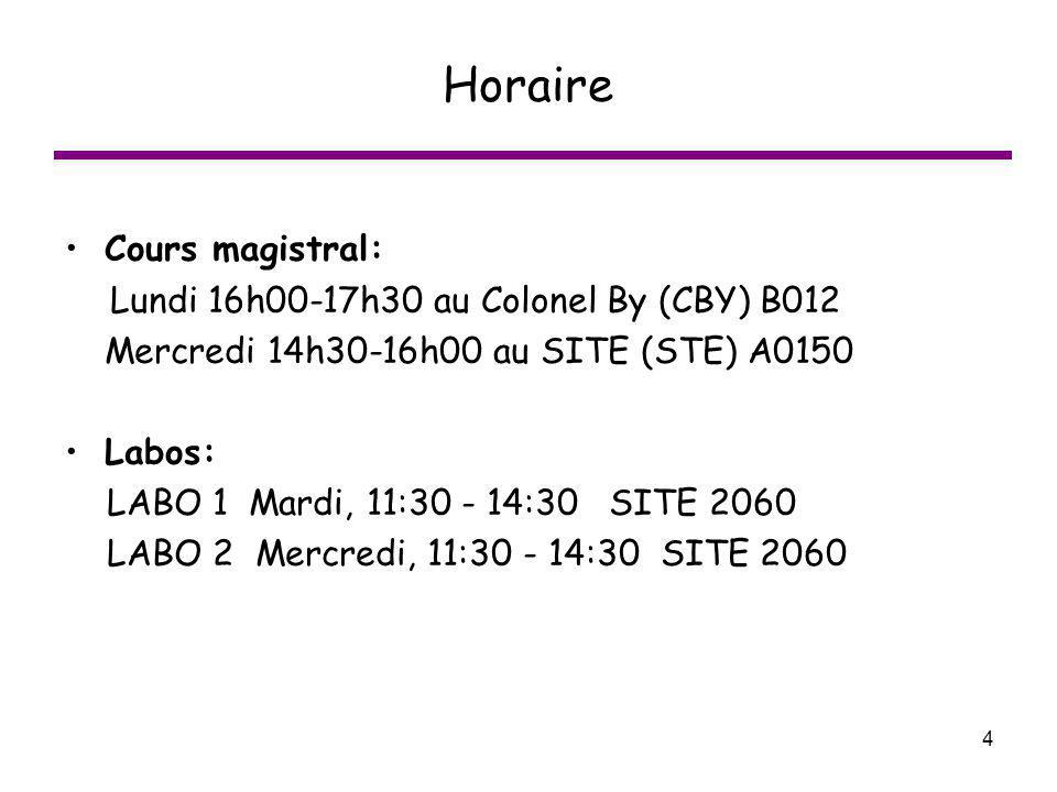 Horaire Cours magistral: Lundi 16h00-17h30 au Colonel By (CBY) B012