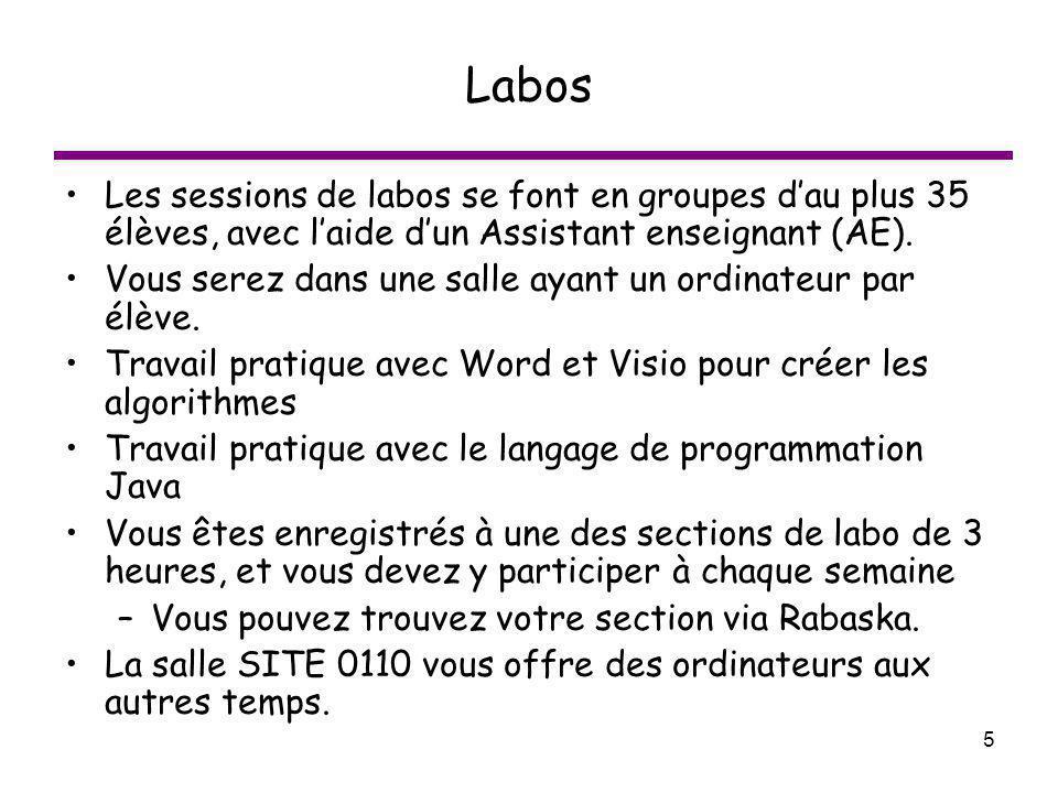Labos Les sessions de labos se font en groupes d'au plus 35 élèves, avec l'aide d'un Assistant enseignant (AE).