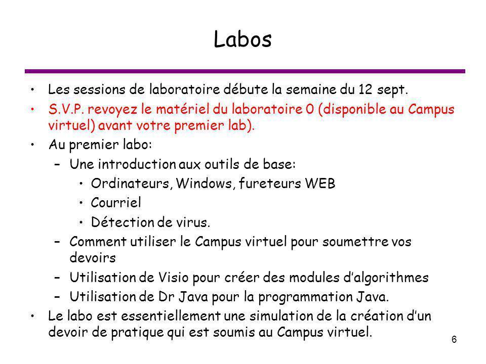 Labos Les sessions de laboratoire débute la semaine du 12 sept.