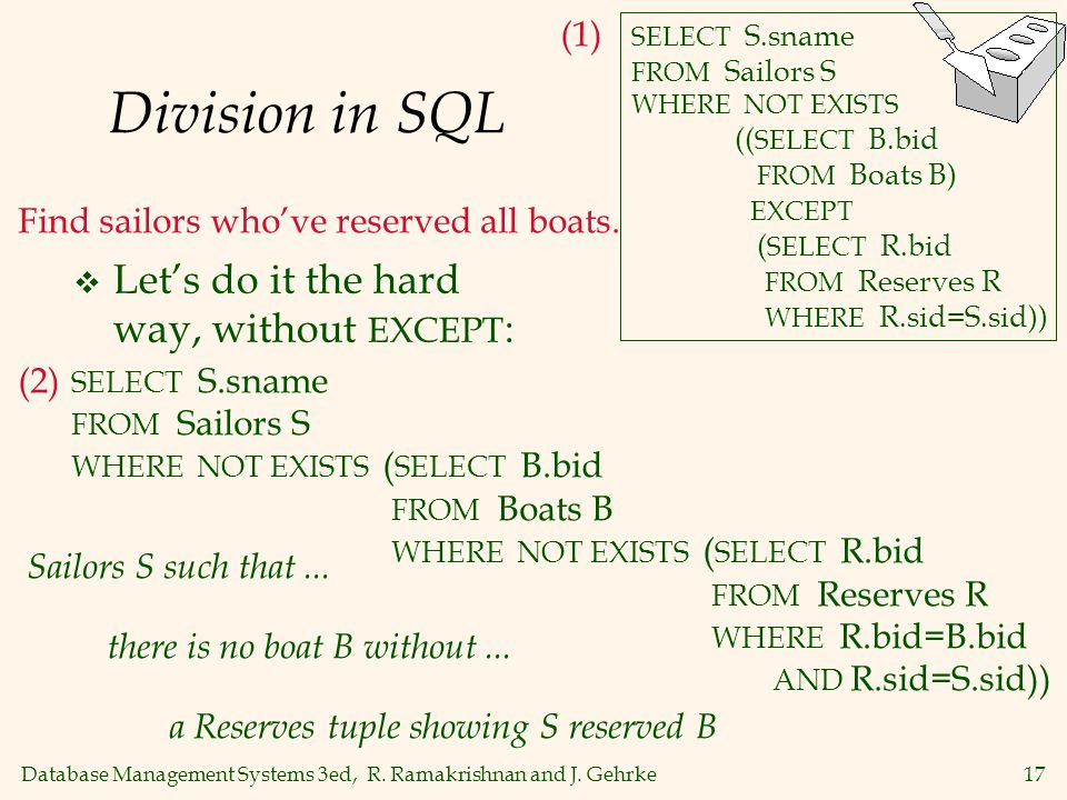 Division in SQL Let's do it the hard way, without EXCEPT: (1)
