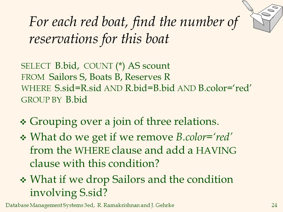 For each red boat, find the number of reservations for this boat