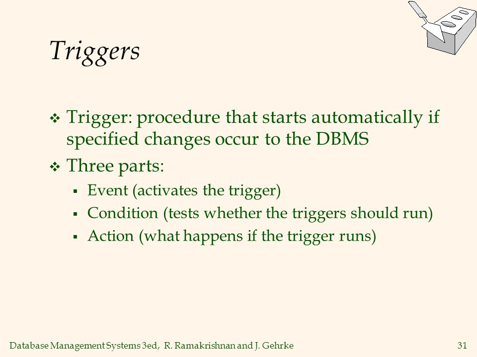 Triggers Trigger: procedure that starts automatically if specified changes occur to the DBMS. Three parts: