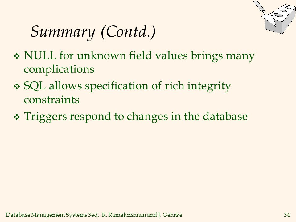 Summary (Contd.) NULL for unknown field values brings many complications. SQL allows specification of rich integrity constraints.