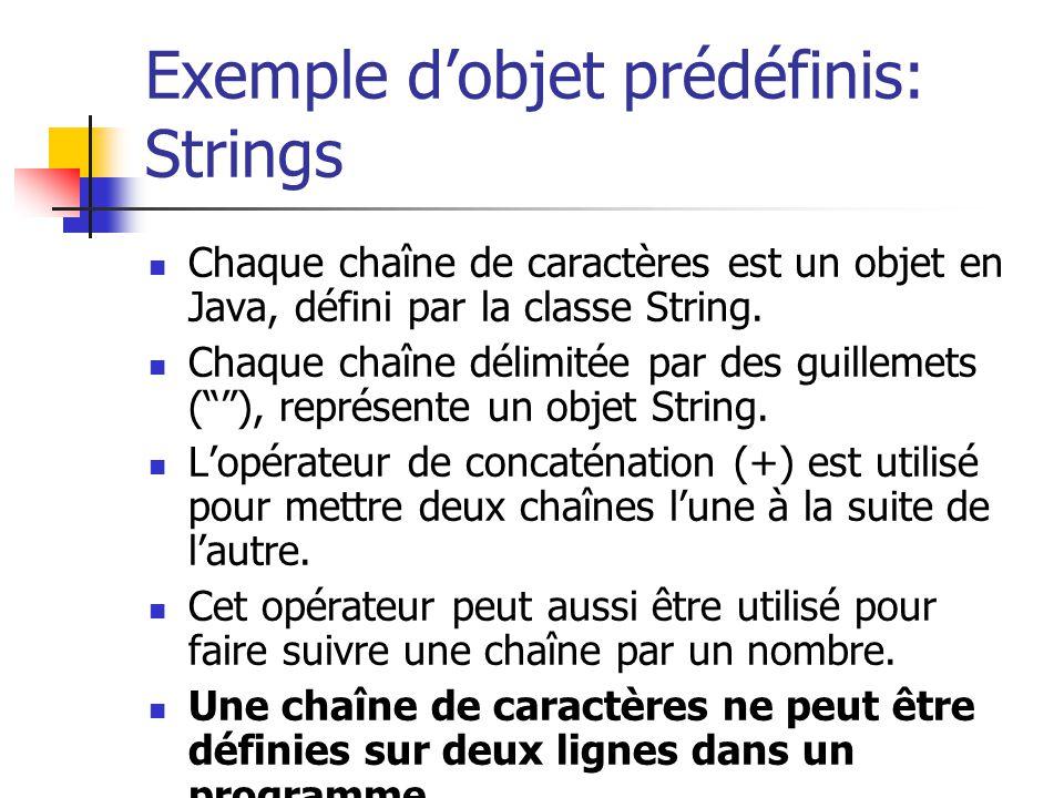 Exemple d'objet prédéfinis: Strings